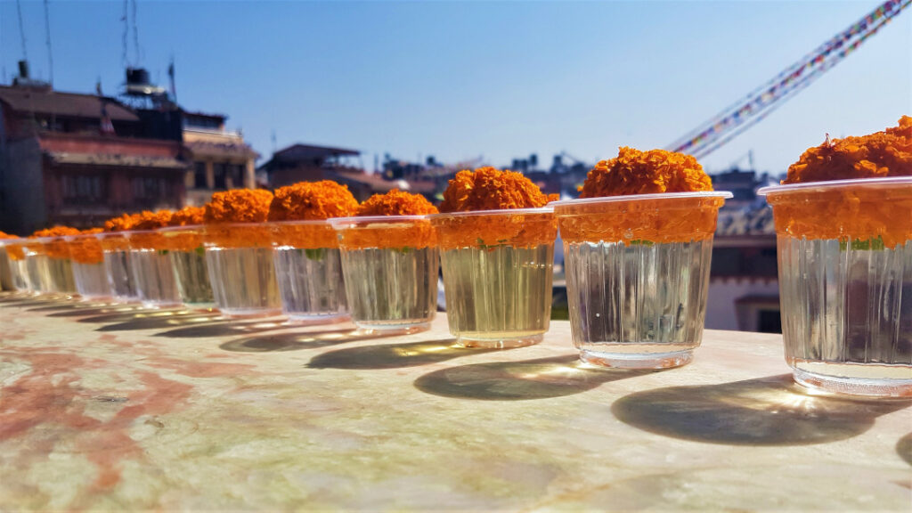 Butter lamps with a single marigold flower in each of them