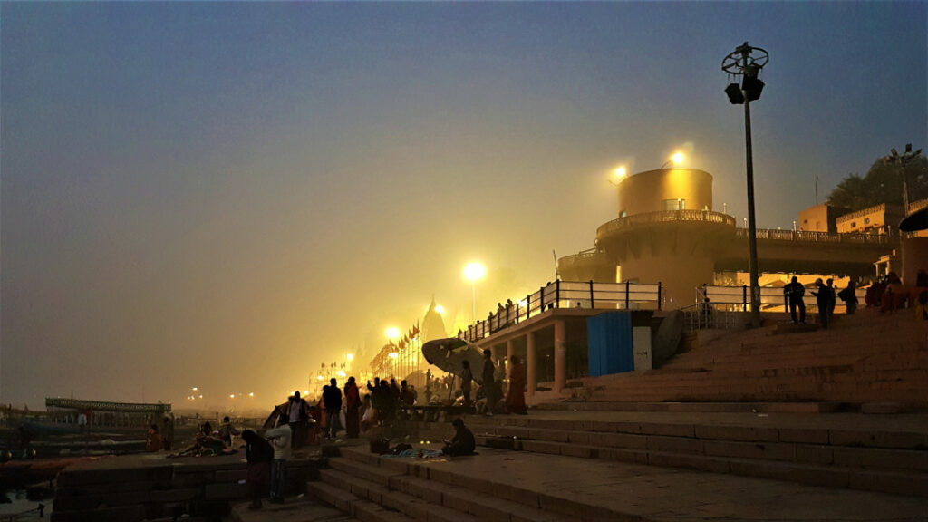 View of Manmandir Ghat early in the morning before sunrise