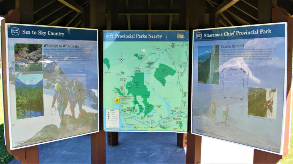 Information charts at Stawamus Chief Provincial Park tourist hut