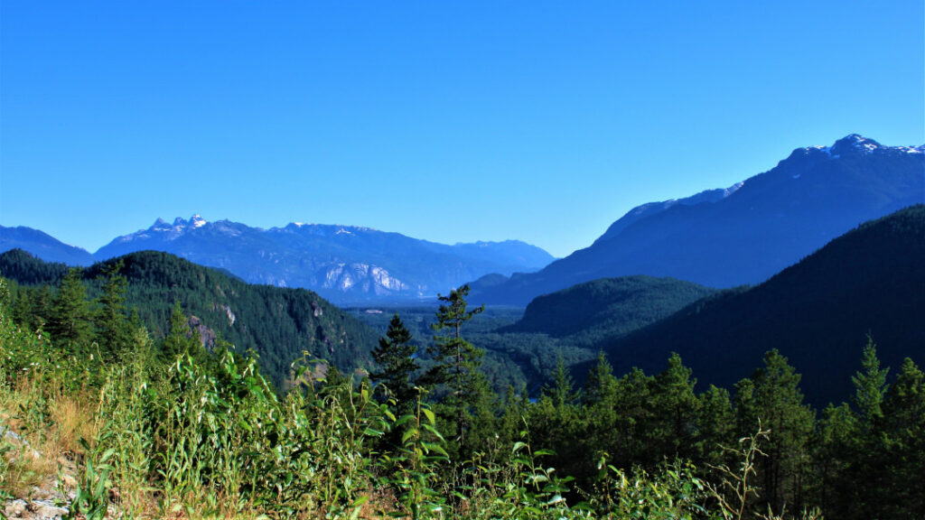 Views of the Tantalus Mountain range from