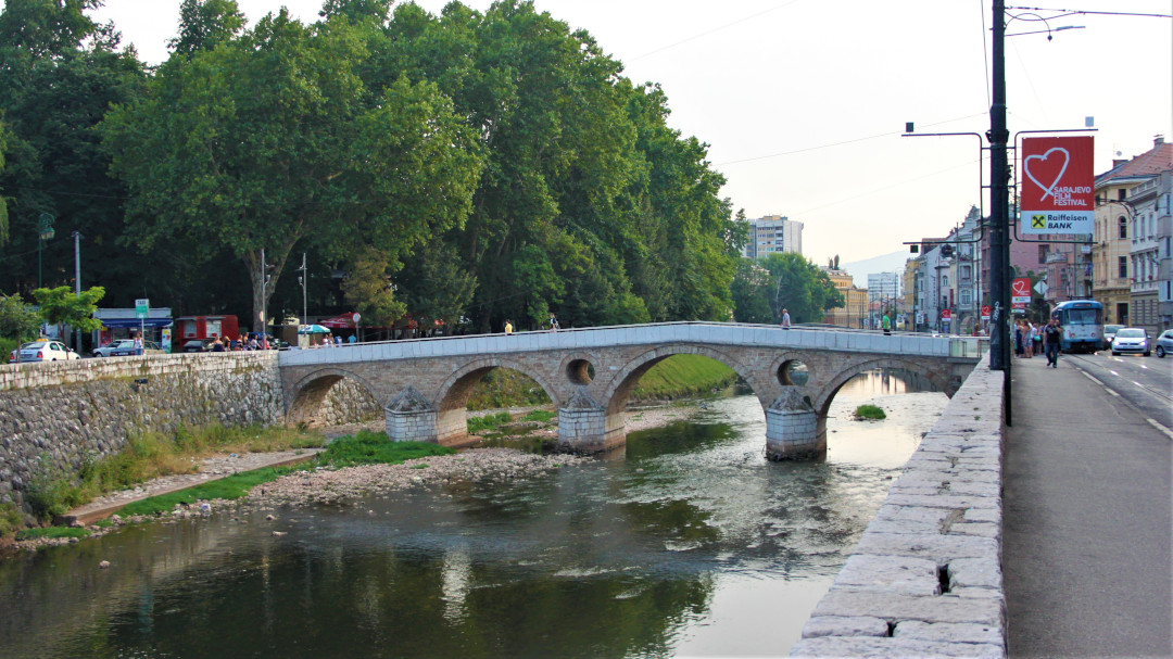 View of Latin Bridge in Sarajevo