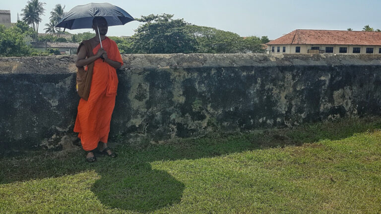 A Buddhist monk on the rampart