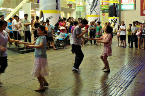 Plaza dancing outside a shopping mall in Shanghai