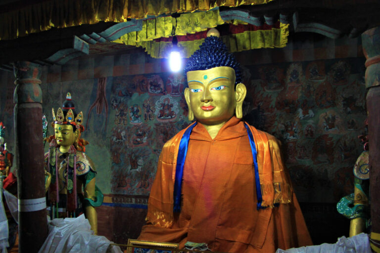 The Buddha with his disciples in the inner sanctum at Thiksey Monastery