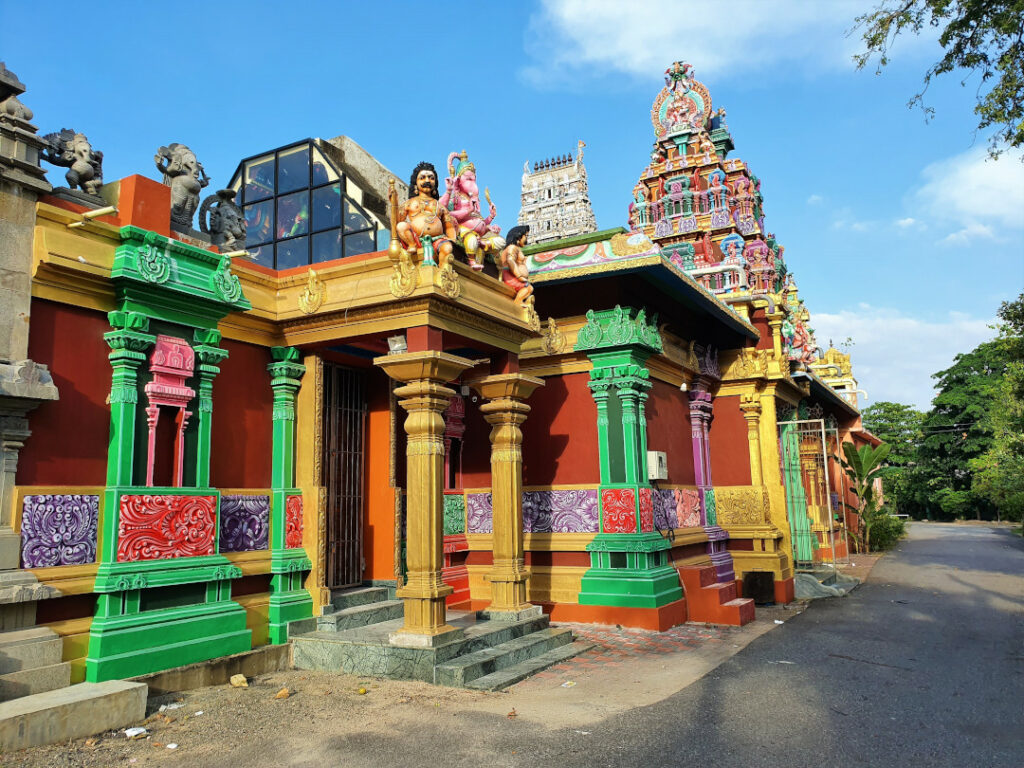 The vivid colours of the temple