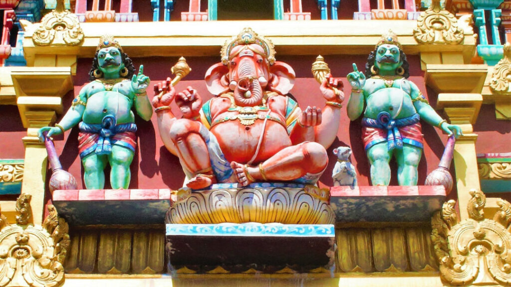 A statue of Ganesh adorns part of the outer walls