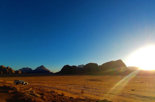 The setting sun over Wadi Rum