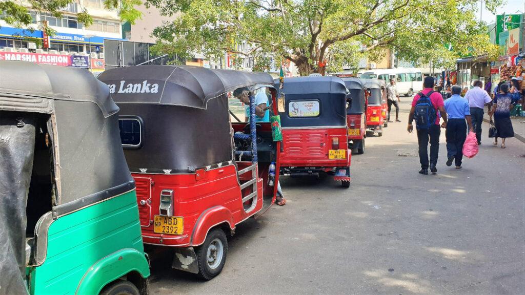 Tuk-tuks parked outside Colombo station