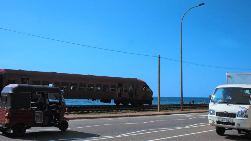 The Hikkaduwa-Colombo rail track along Marine Drive