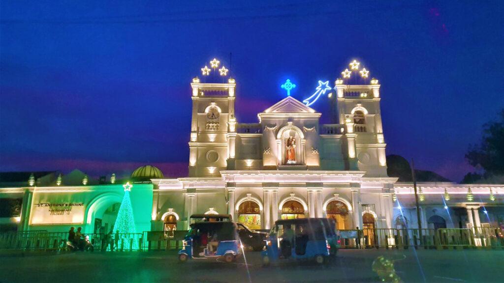 St Anthony's Shrine lit up for the festivities