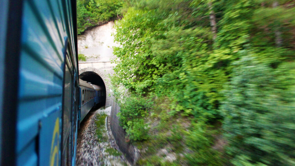 Whizzing through a tunnel between Mostar and Sarajevo