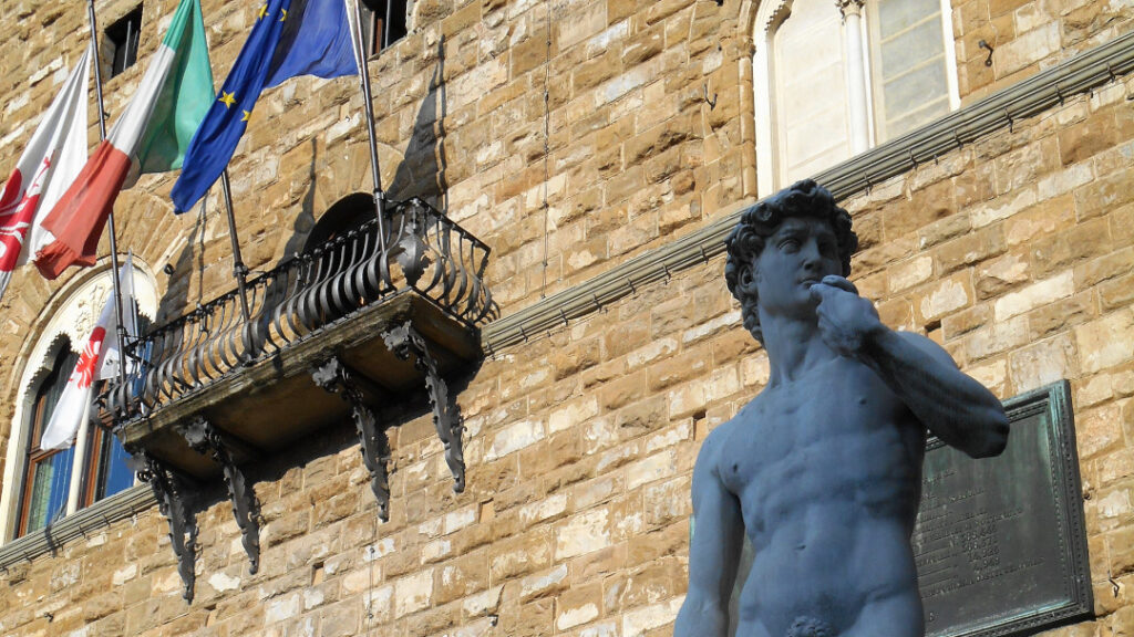 View of David at Piazza della Signoria