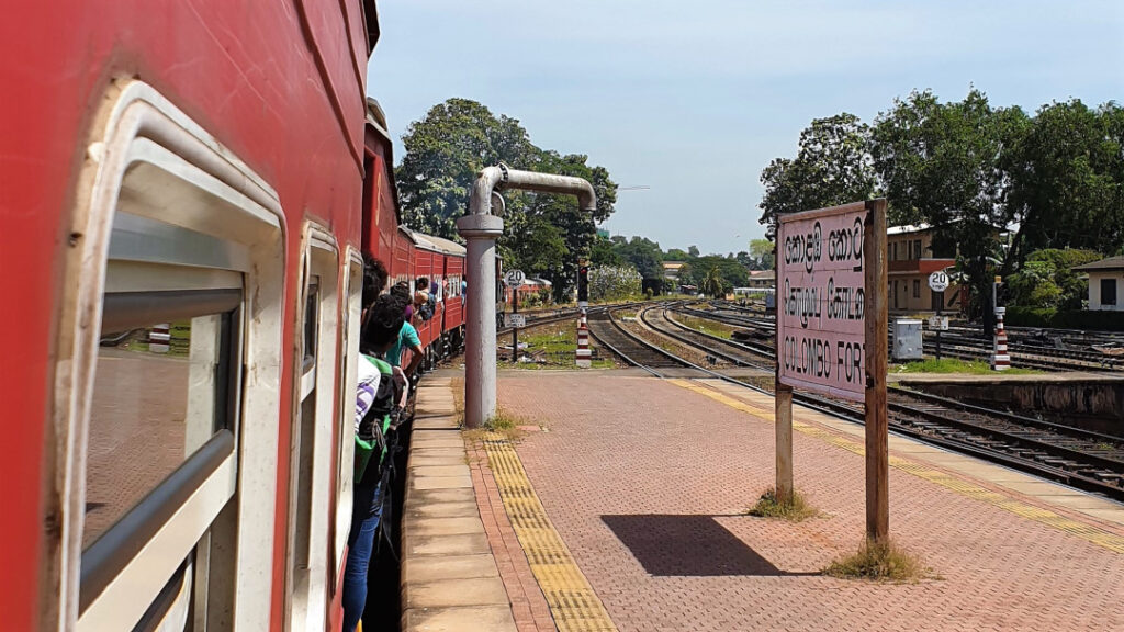 The Colombo-Kandy Express train pulling out of Colombo Fort station