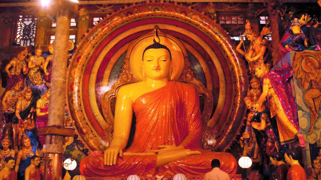 A larger than life Buddha greets you as you enter the vihara