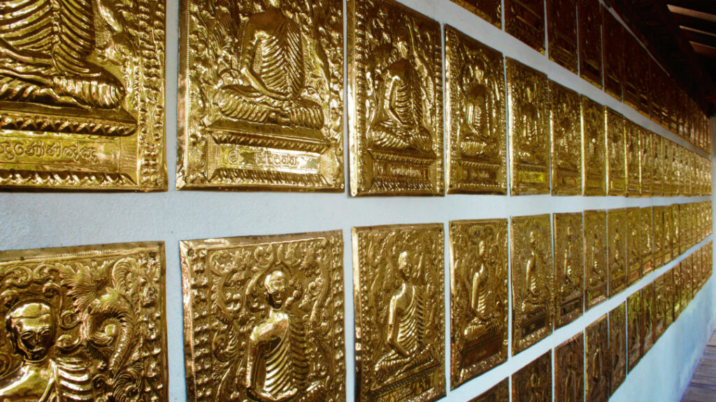 Gold plated engravings inside the temple