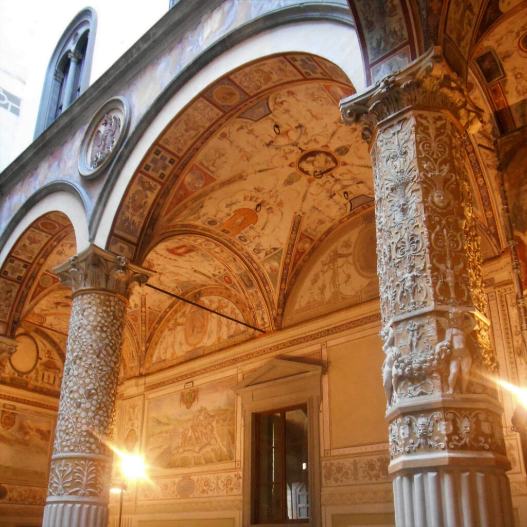 Uffizi Gallery with its intricate craftsmanship