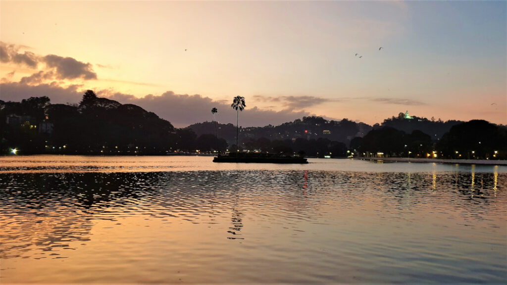 The sun sets over Kandy town