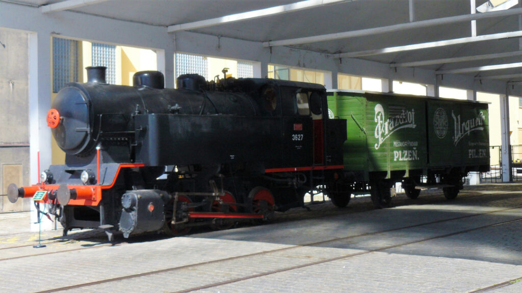 A locomotive from the 1930s proudly stands to welcome you